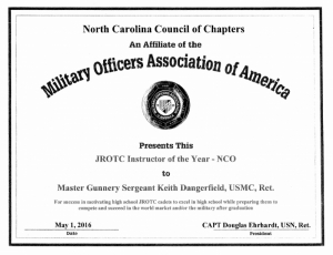North Carolina Council of Chapters JROTC Awards